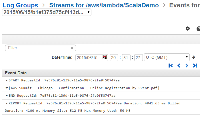 Amazon CloudWatch Log result of triggering the Scala function with an S3 upload